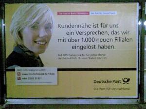 Werbung der Post, das Versprechen der Post.
